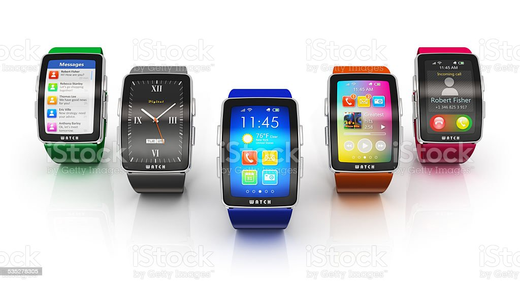 Collection of smart watches stock photo
