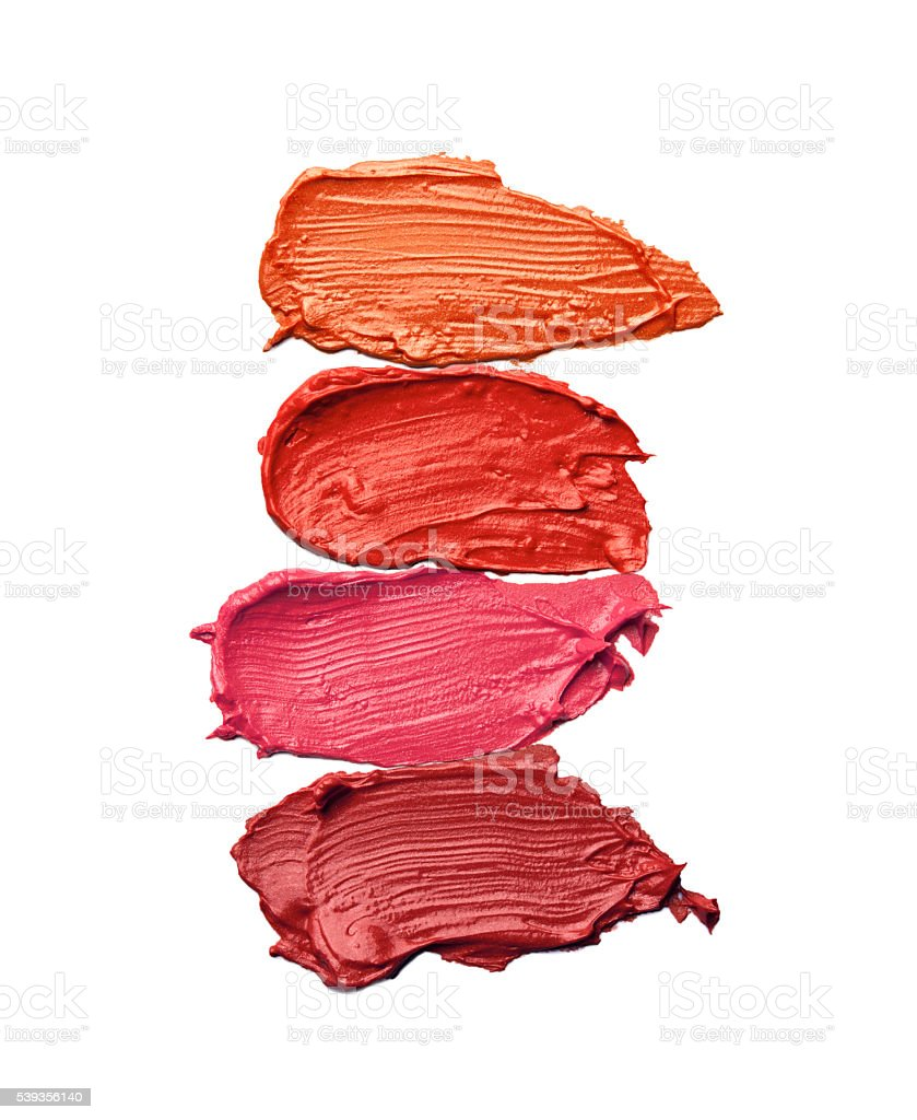 Collection of smudged lipsticks stock photo