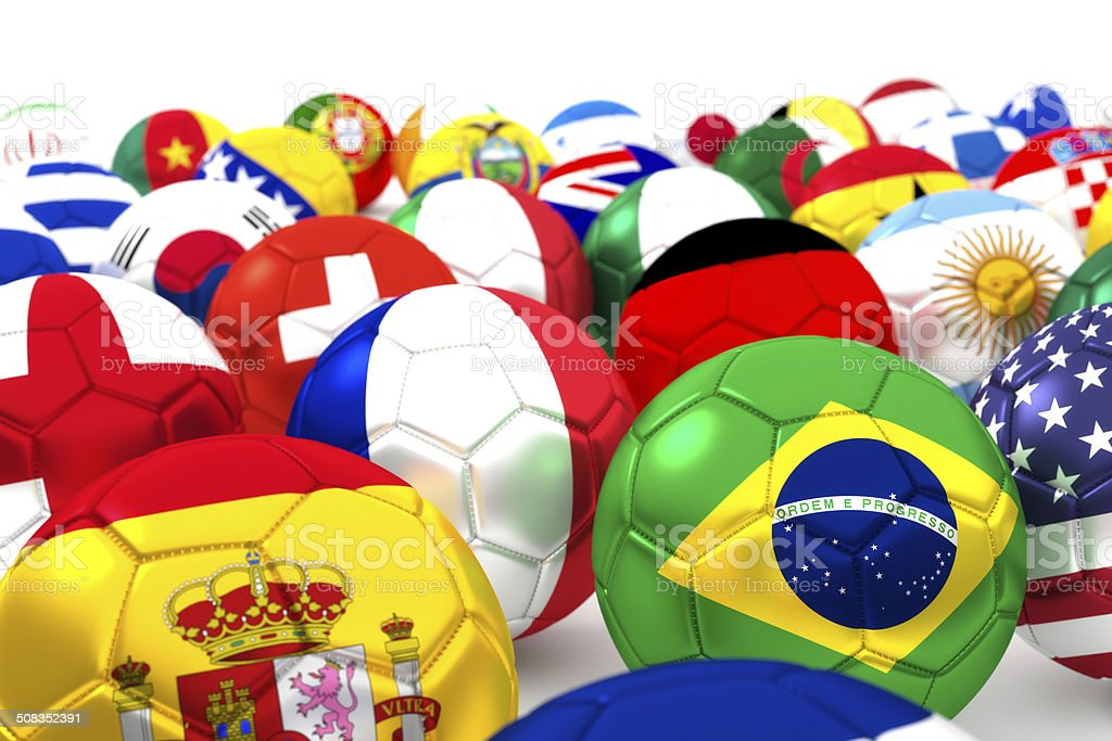 collection of soccer balls with flags stock photo