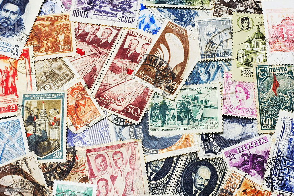 Collection of Soviet Postal Stamps royalty-free stock photo