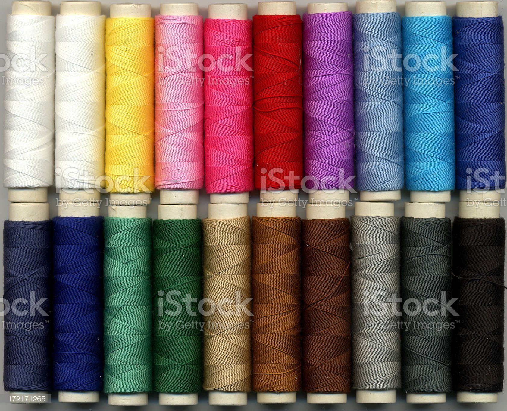 Collection of spools in a wide range of colors royalty-free stock photo
