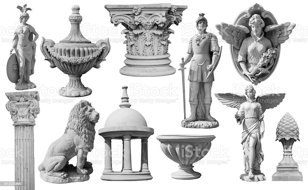 Collection of statues isolated on white background stock photo