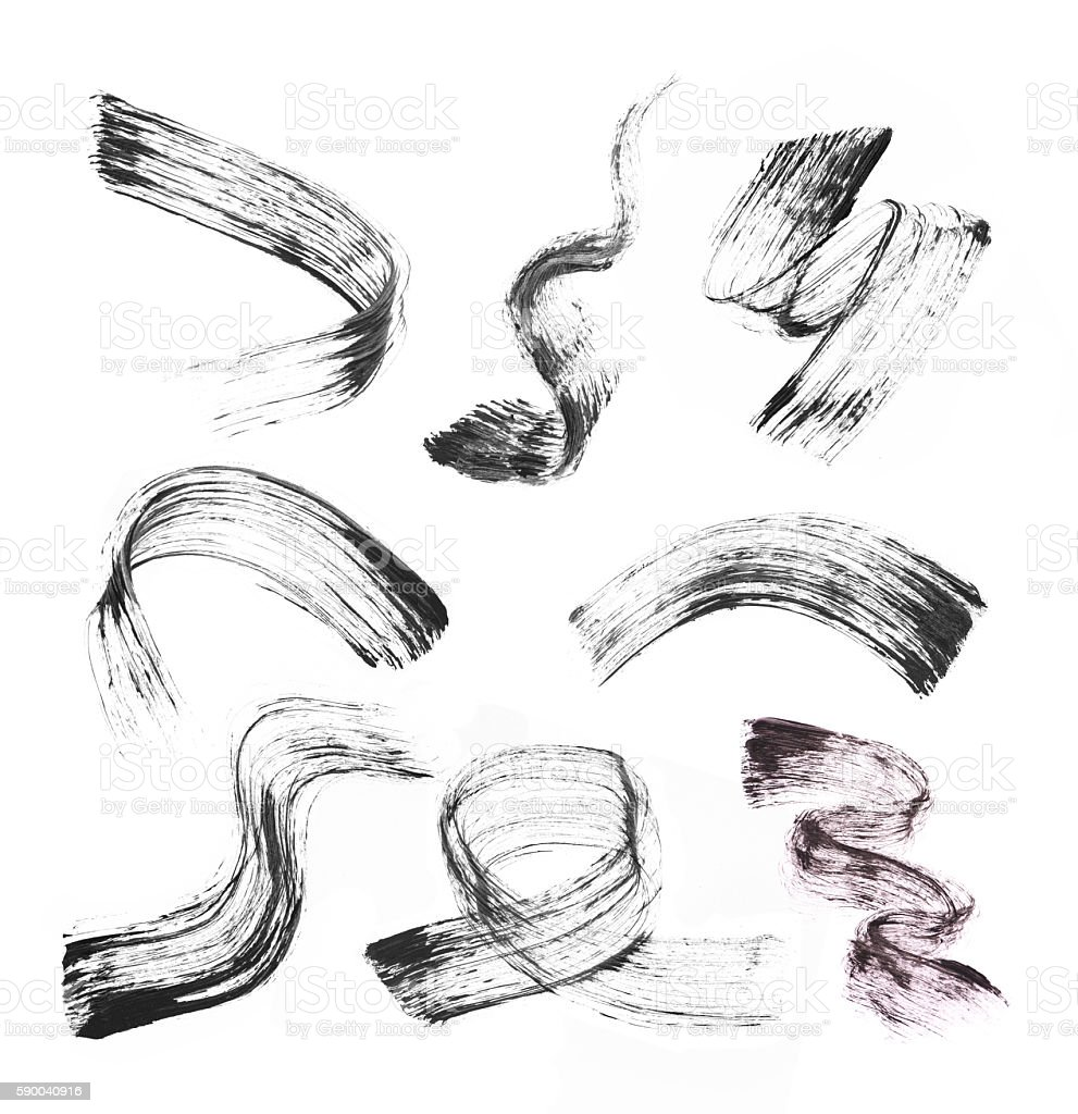 Collection of stroke (sample) of black mascara, stock photo