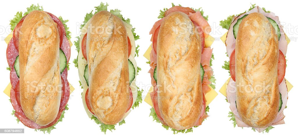 Collection of sub sandwiches baguettes with salami, ham and cheese stock photo