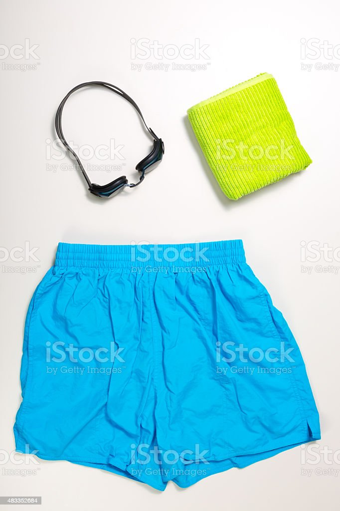 collection of Swimming suit, caps and glasses stock photo