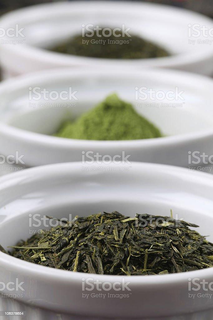 Collection of teas - bancha green tea stock photo