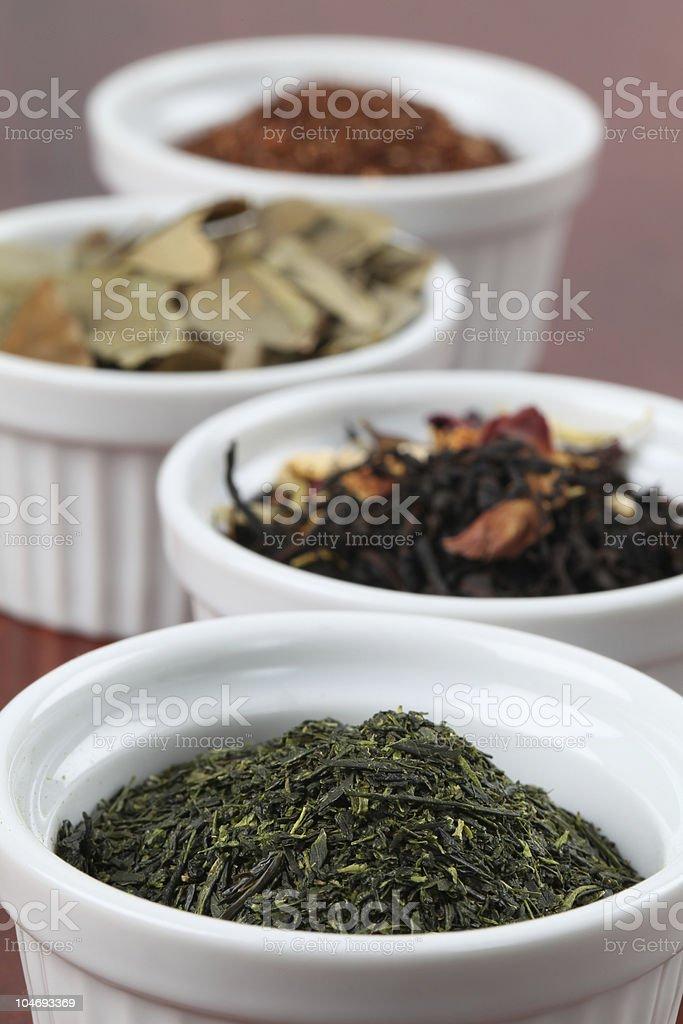 Collection of teas - Bancha or Sencha green tea stock photo