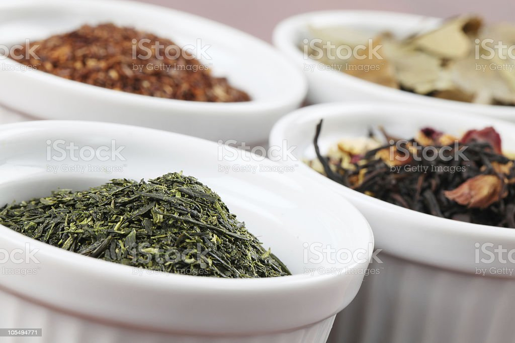 Collection of teas - Bancha or Sencha green tea royalty-free stock photo