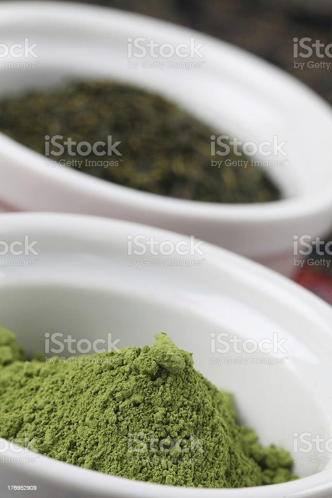 Collection of teas - Matcha green tea powder stock photo