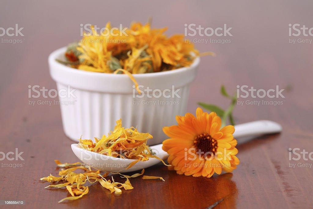 Collection of teas - pot marigold stock photo