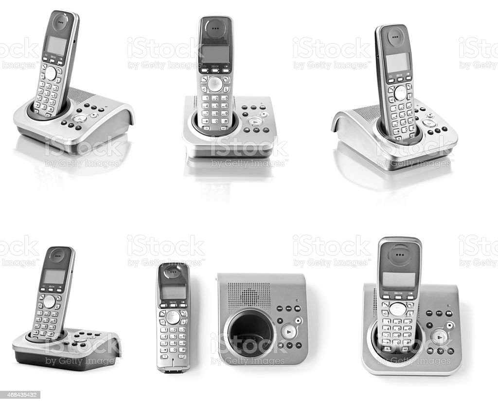 Collection of telephones isolated on white stock photo