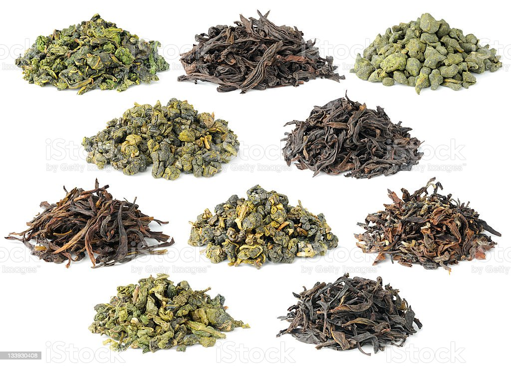 Collection of ten most famous chinese oolong teas royalty-free stock photo