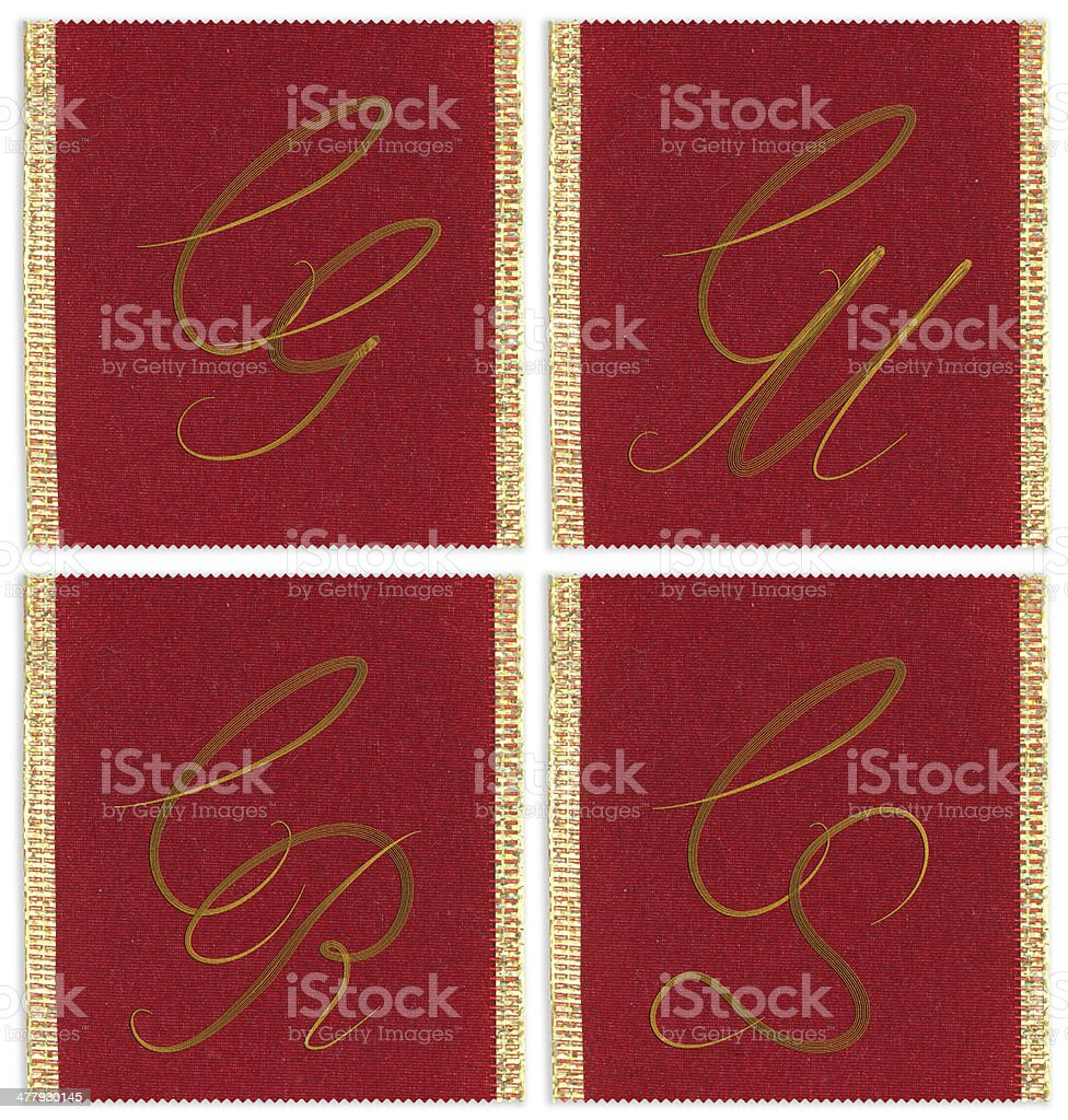 Collection of textile monograms design on a ribbon royalty-free stock photo