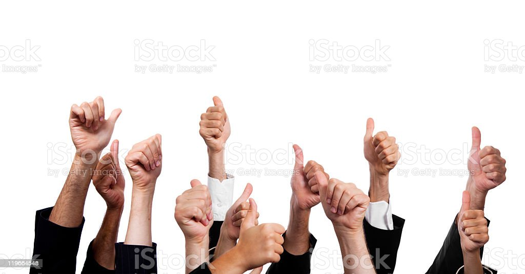 Collection of thumbs up on white background stock photo