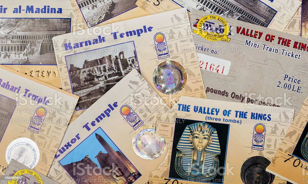 Collection of tickets from Egyptian temples and museums stock photo