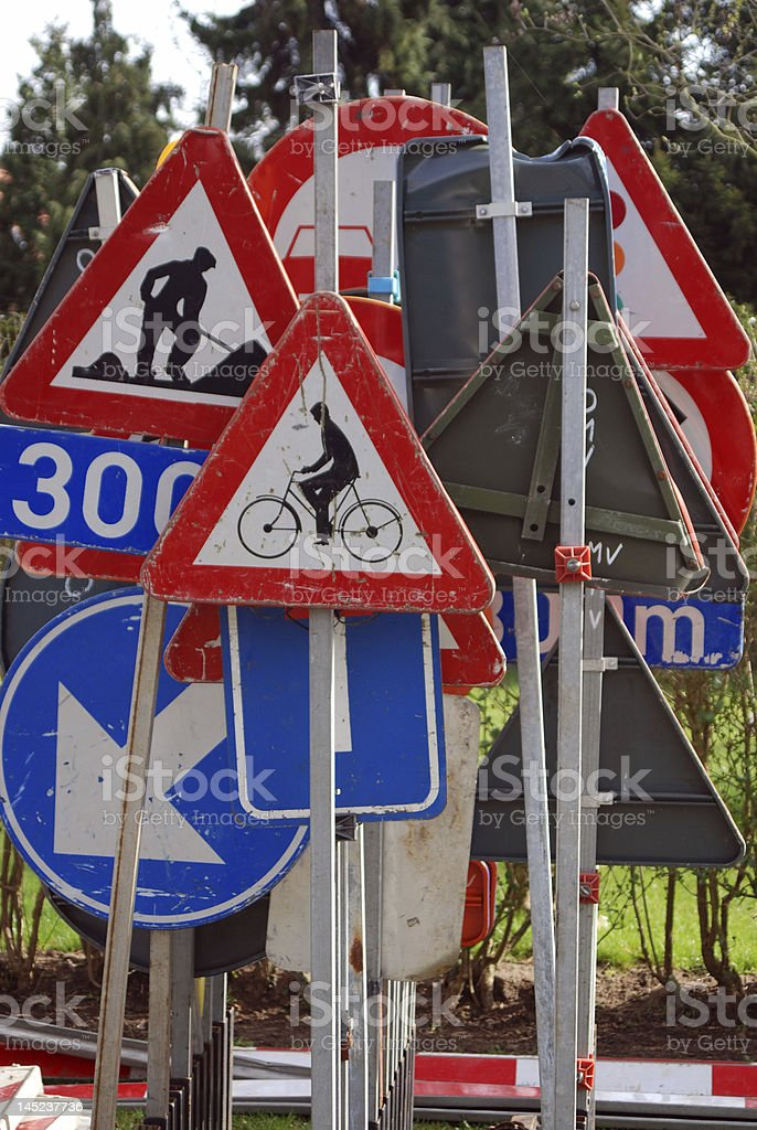 Collection of traffic signs royalty-free stock photo