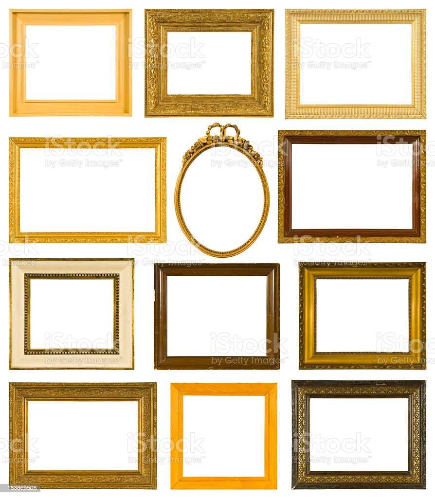 Collection of twelve antique picture frames royalty-free stock photo
