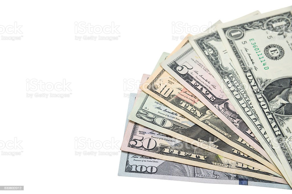 Collection of us dollar bills. Isolated stock photo