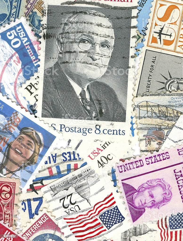 Collection of US vintage postmarks stock photo