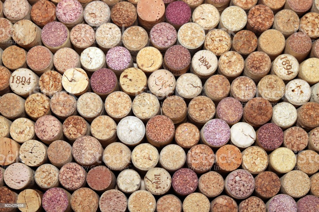 Collection of used wine corks from different varieties of wine stock photo