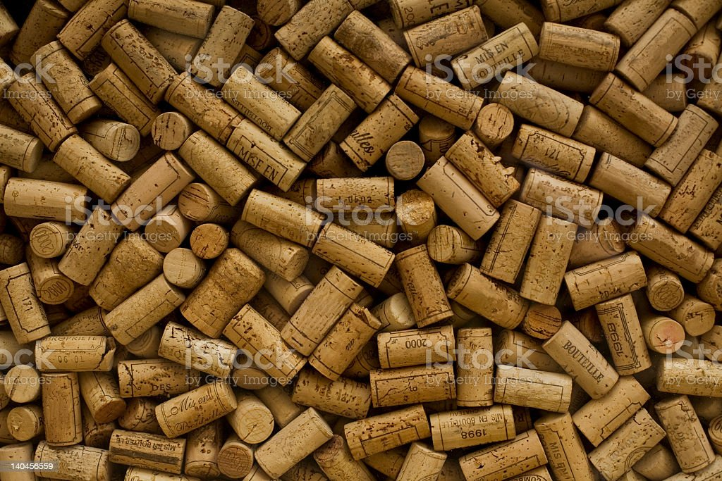 A collection of used wine corks royalty-free stock photo