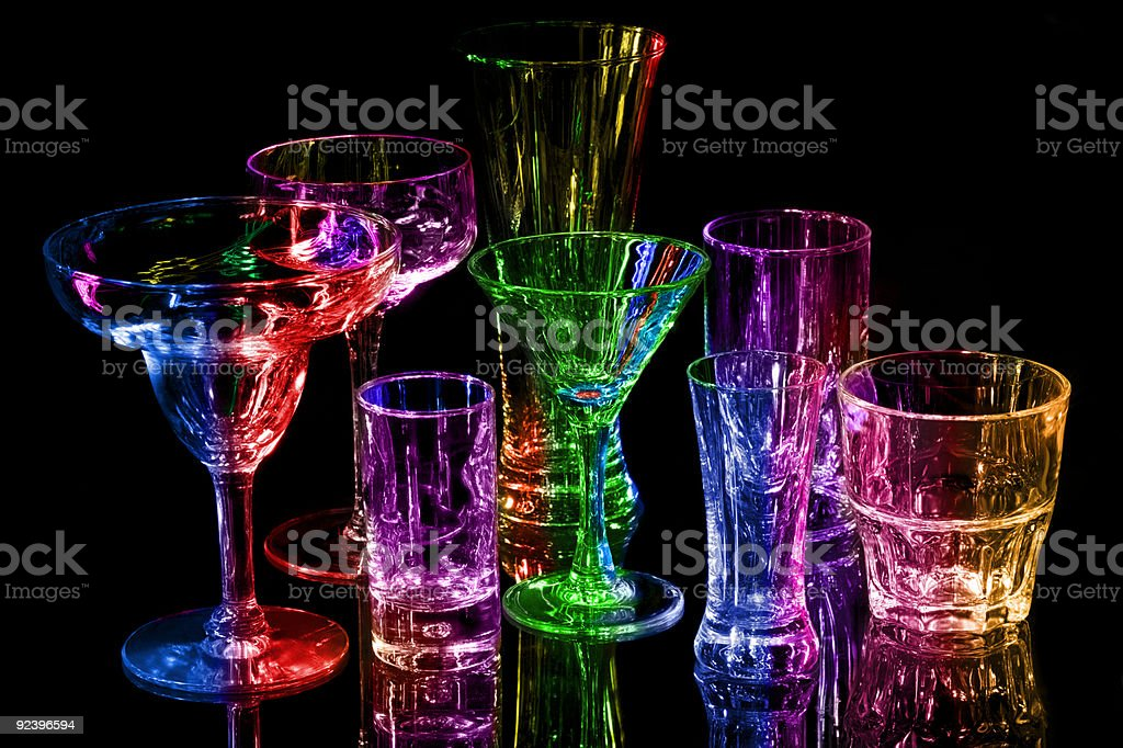 Collection of various bar glasses stock photo