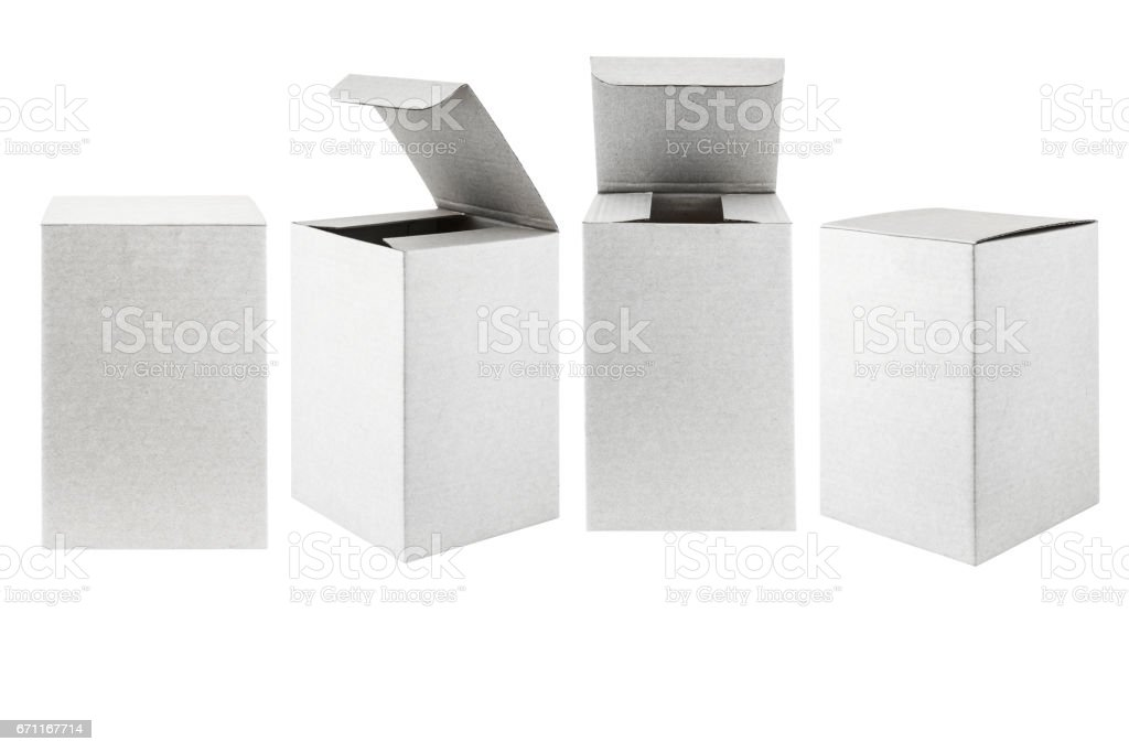 collection of various cardboard boxes stock photo