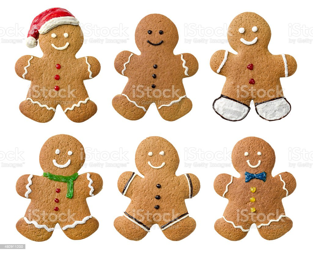 Collection of various gingerbread men on a white background stock photo