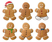 Collection of various gingerbread men on a white background