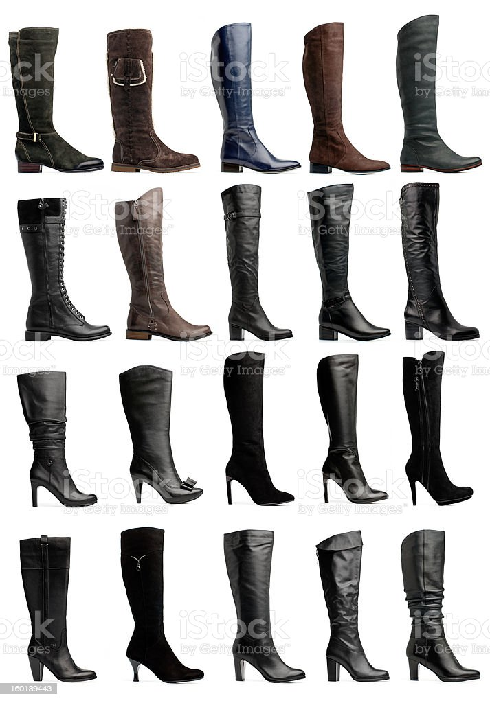 Collection of various knee high boots stock photo