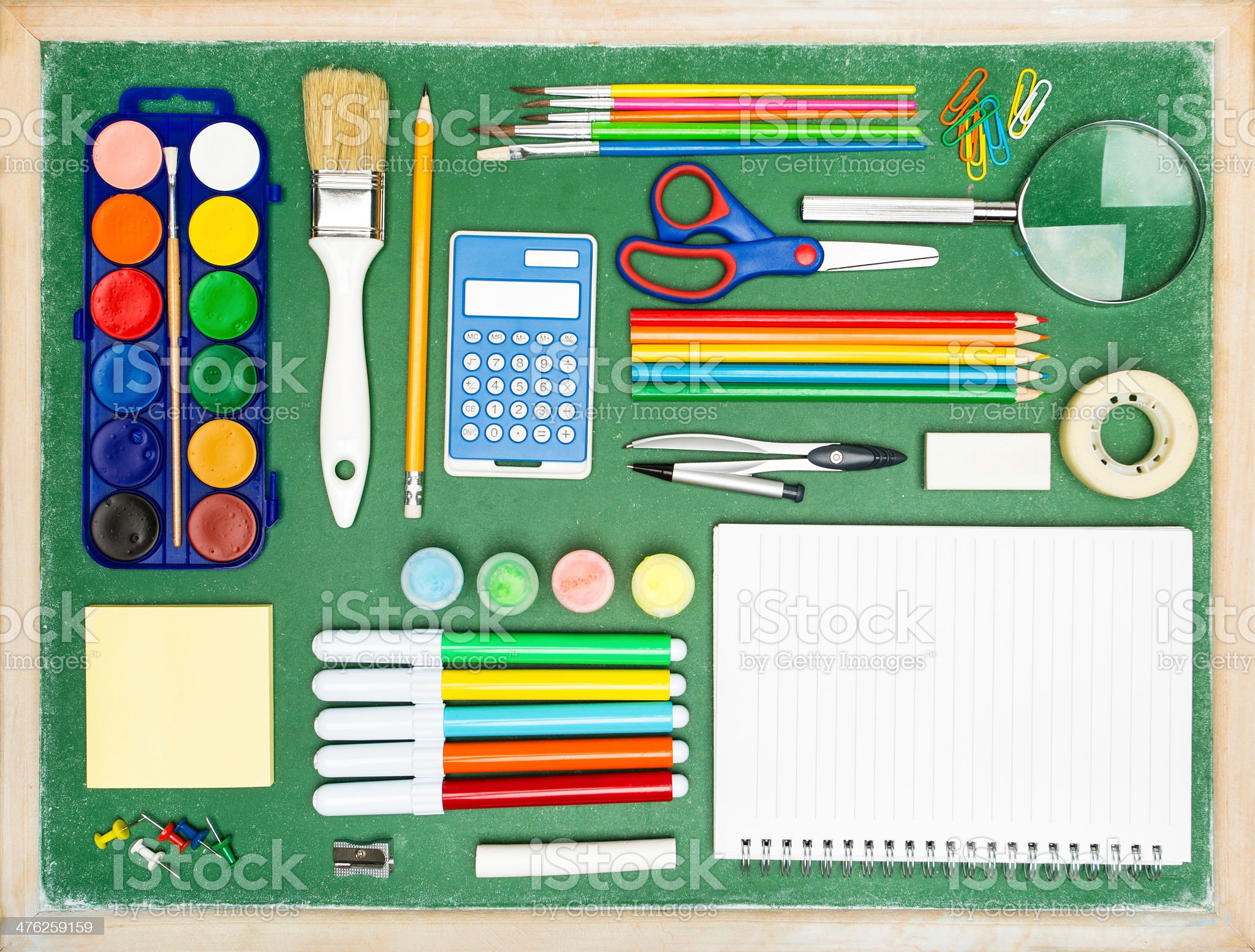 Collection of various office and school supplies royalty-free stock photo
