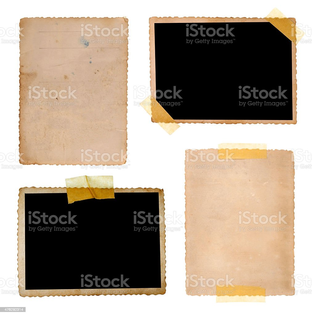 Collection of various old photos on white background stock photo