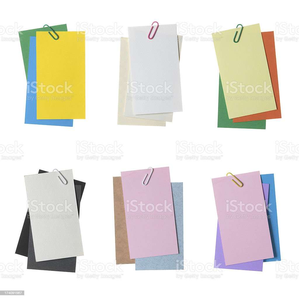 Collection of various paper notes with clip isolated on white royalty-free stock photo