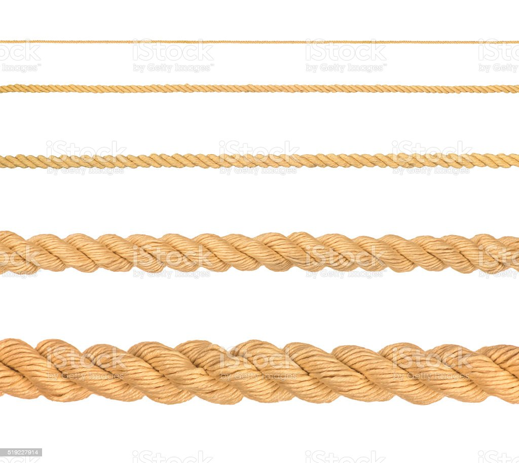 collection of various ropes stock photo