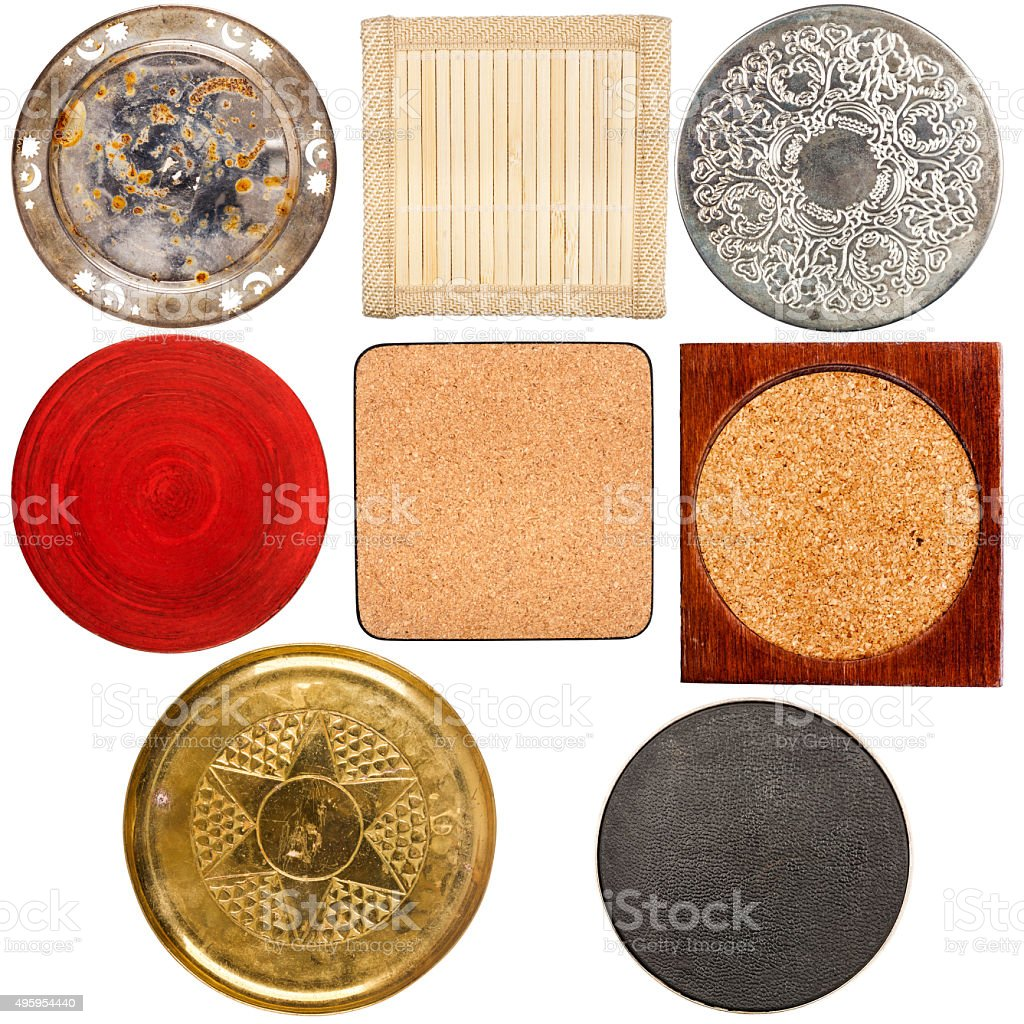 Collection of various table coasters stock photo