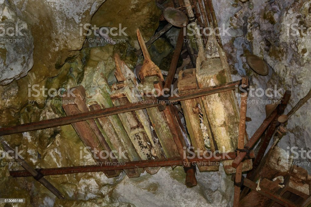 Collection of very old coffins in Londa. Tana Toraja, Indonesia stock photo
