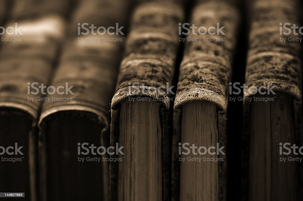 Collection of vintage books royalty-free stock photo