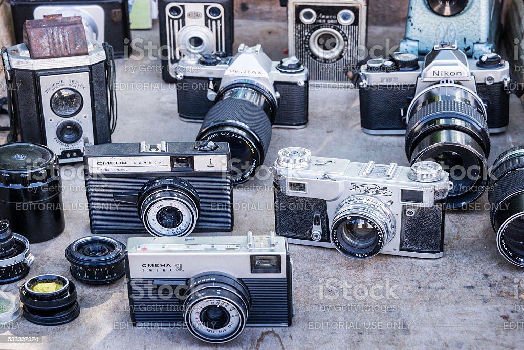 Collection of vintage cameras on a flea market in  Havana stock photo