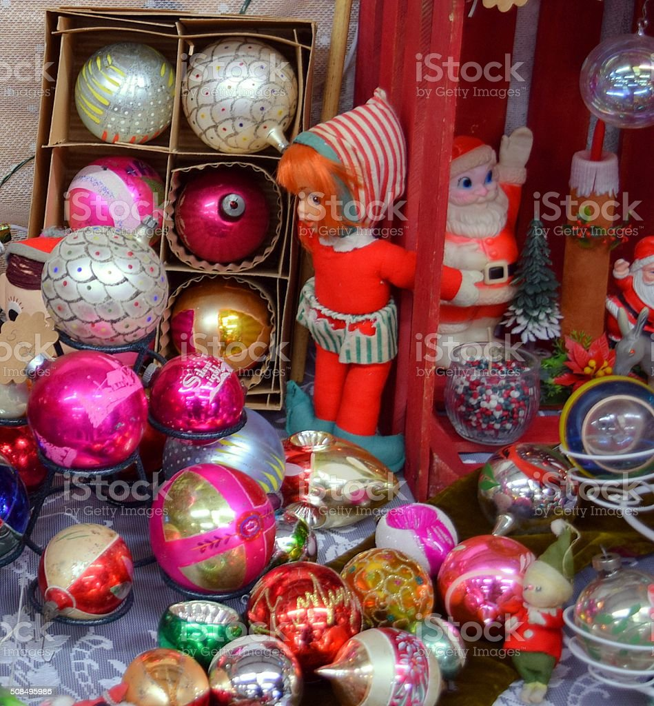 Collection of Vintage Christmas Ornaments and Decorations stock photo