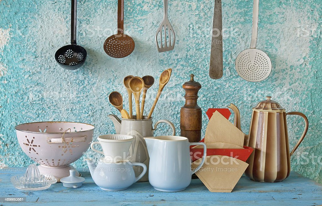 collection of vintage kitchenware, blue background stock photo