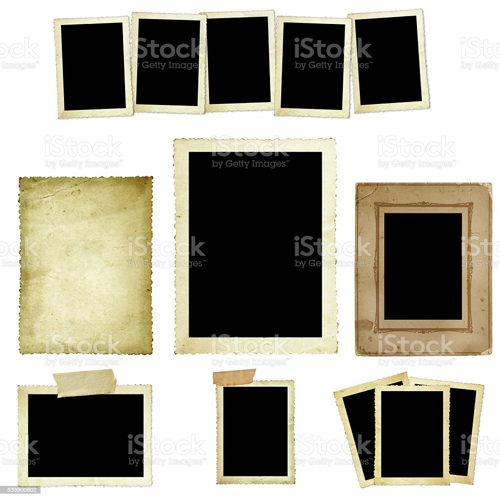 Collection of Vintage Photo Frames stock photo