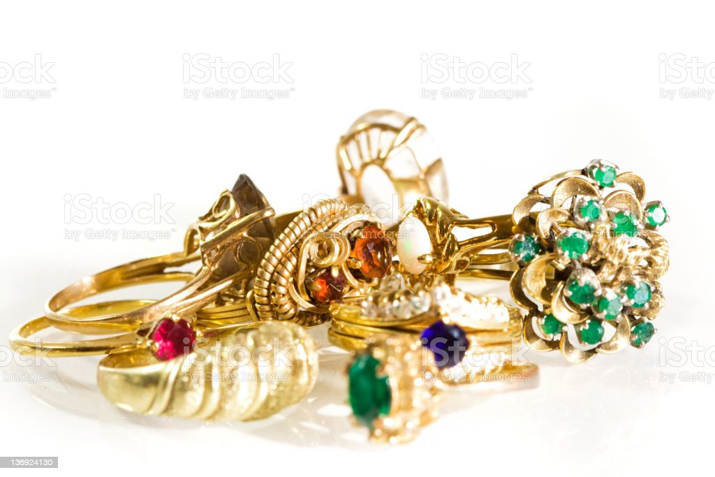 Collection of Vintage Rings royalty-free stock photo