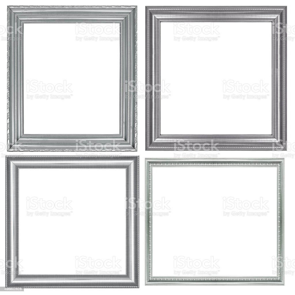 collection of vintage silver and wood picture frame, isolated stock photo