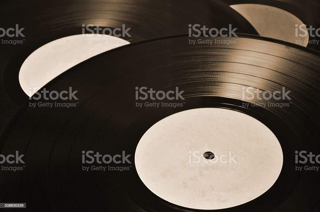 Collection of vinyl records stock photo