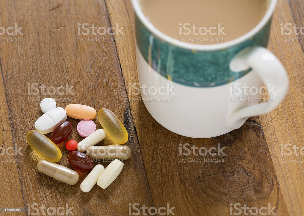 Collection of vitamins and supplements royalty-free stock photo