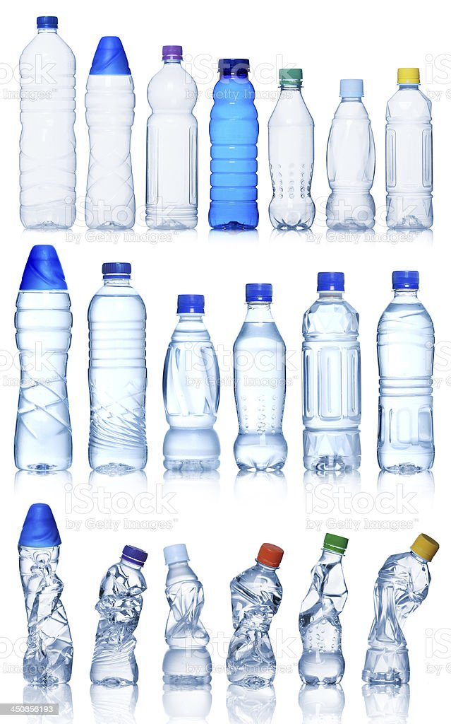 Collection of water bottles stock photo