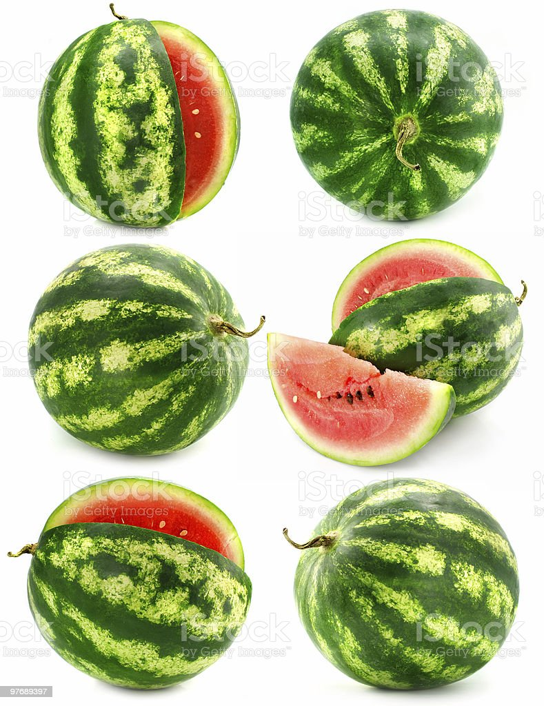 collection of water melon fruits isolated royalty-free stock photo