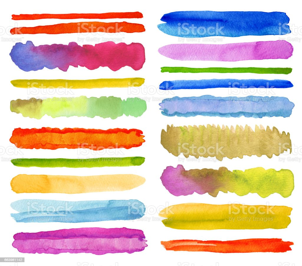 Collection of watercolor brush strokes. Isolated on white. stock photo