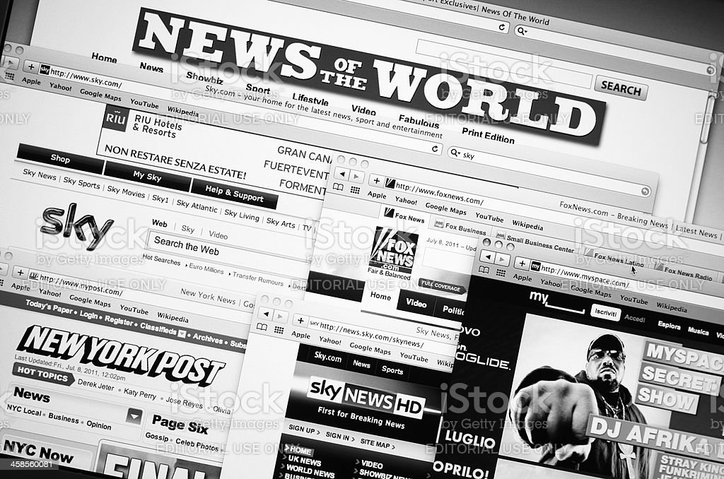 Collection of web online site publisher by Rupert Murdoch stock photo