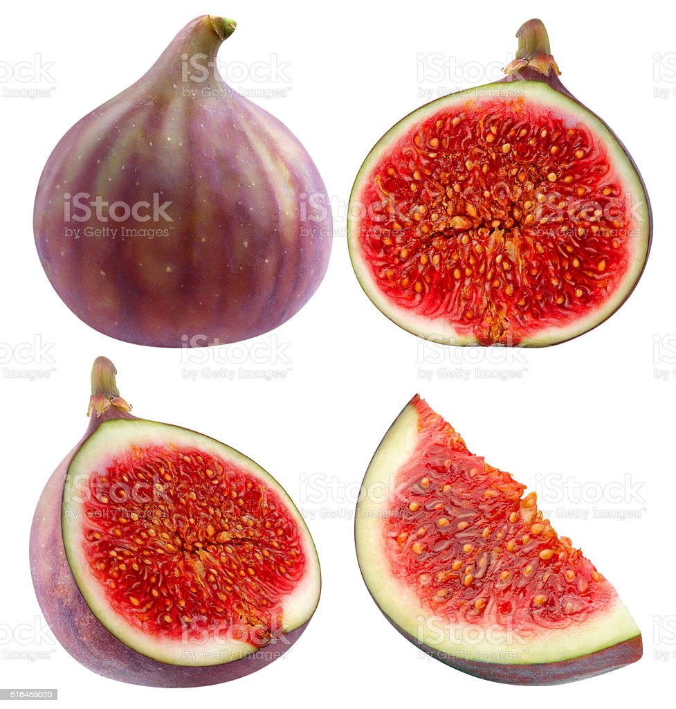 Collection of whole and cut figs isolated with clipping path stock photo